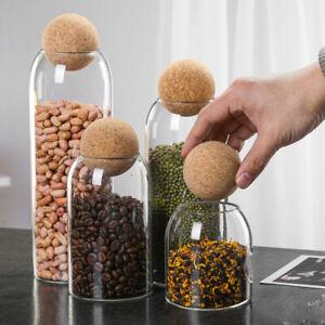 Clear Glass Bottle Cork Bean Coffe Glass Jar Can Storage Organizer x1/2/3/4Pcs