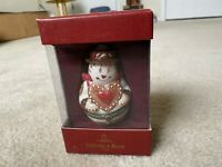 """Villeroy & Boch Snowman Trinket Box Holding Heart Porcelain 3.5"""" In Box - Treats"""