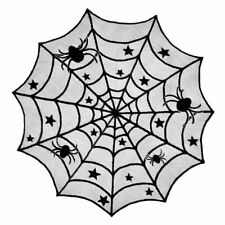 Halloween Tablecloth Round Black Spider Web Lace Mantle Home Party Decoration