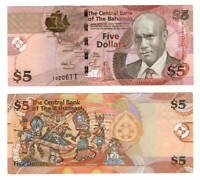 BAHAMAS UNC $5 Dollars CRISP Series Banknote (2007) P-72 Paper Money F Prefix