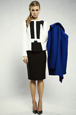 The Honey and Beau Straight Up Black Skirt  Solid Textured Pencil Skirt Size 14