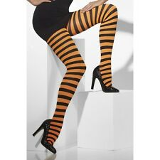 Women's Halloween Tights Orange and Black Striped Witch Fancy Dress Accessory