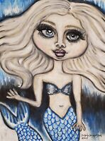 ICE MERMAID Fantasy Art Print 8 x 10 Signed by Artist KSAMS Gothic Blue Big Eyes