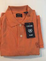 Izod Men Silk Wash Short Sleeve Polo Shirt Size L Orange Bud