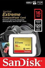 Genuine Sandisk 16gb Extreme Compact Flash CF Card 120mb/s, Authorised Seller
