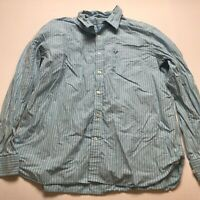 American Eagle Vintage Fit Blue Striped Long Sleeve Button Up Shirt Sz XXL A1152