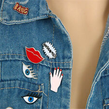 Beauty Girl Brooch Jewellery Collar Badge Red Lip Eye Enamel Corsage Cartoon Pin