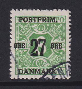 DENMARK 1918: nicely used 27 on 8 ore green Wmk 114 Sc #148 c.v. $15.50 · [2617]