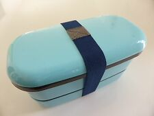 NEW! JAPANESE BENTO LUNCH BOX 2tier 500ml BLUE MADE IN JAPAN FREE SHIPPING