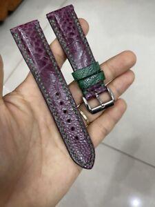 20 mm Padded  Purple Genuine OSTRICH Leg LEATHER SKIN WATCH STRAP BAND
