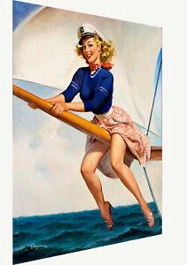 Vintage print art model poster canvas Gil Elvgren painting sail away