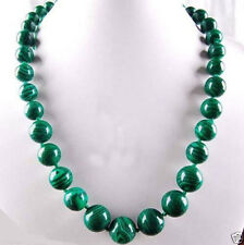 AAA 6-14mm Green Gorgouese Malachite Gem Round Beads Necklace 18""