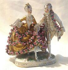 Dresden figures figure Georgian lady with fan roses gold dress