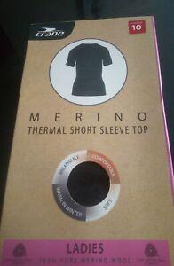 WOMENS 100% merino wool thermal  t shirt top base layer Ladies. Size 10