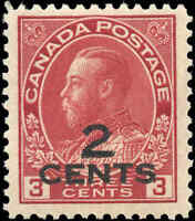 Mint NH Canada 1926 2c on 3c F-VF Scott #140 Provisional KGV Admiral Stamp