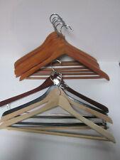 10 WOOD SUIT CLOTHES HANGERS WOOD MOST PLASTIC PANTS RODS