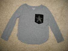 Girls' M 7/8 Children's Place Long Sleeve T-Shirt Flip Sequin Faux Pocket Gray