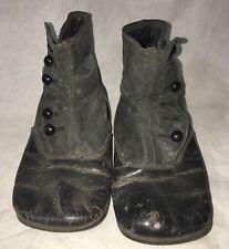 Children's Leather Handmade Shoes Antique BUTTON Side BLACK