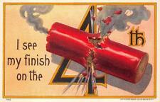 JULY 4TH  FIRE CRACKER EMBOSSED PATRIOTIC POSTCARD (c. 1910)