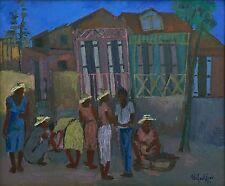 """""""Street Scene"""" by Wilfrid Louis - 1987 - Haitian Art - 24 in x 20 in - Framed"""