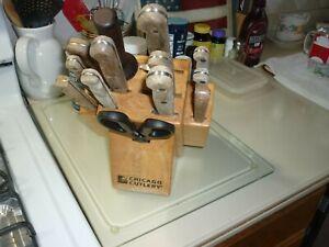 Vintage 13 pc. Chicago Cutlery Knife Set + Block