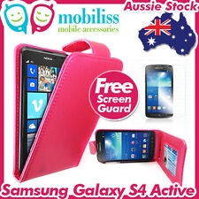 Samsung Galaxy S4 Active I9295 PU Leather Flip Case Wallet Card Holders Hot Pink