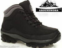 MENS GROUNDWORK LEATHER SAFETY STEEL TOE CAP BOOTS WORK TRAINER HIKING SHOES SZ