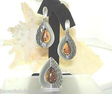 Solid 925 Silver Genuine Baltic Sea TearDrop Honey Amber Pendant Earrings Set #2