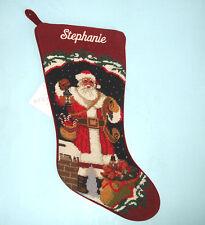 """Sferra Needlepoint Stocking Embroidered """"Stephanie"""" Santa On Chimney New"""