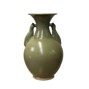 Chinese Handmade Ceramic Gray Green Bird Motif Jar Vase cs4421