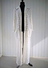Vtg Long Geometric Boho Duster Sheer Swimsuit Cover Up White Pockets Handmade