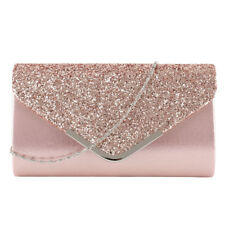 Women Glitter Shimmer Clutch Bag Ladies Wedding Party Handbag Prom Purse Chain