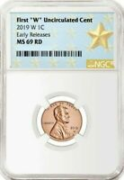 "2019-W LINCOLN First ""W"" Uncirculated Cent 1c EARLY RELEASES NGC MS69 RD"