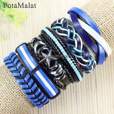 PotaMalat 6pcs Alloy Wristband Tribal genuine Braided Leather Bracelets -D7