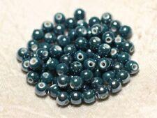20pc - Perles Céramique Porcelaine Boules 6mm bleu vert canard paon pétrole iris