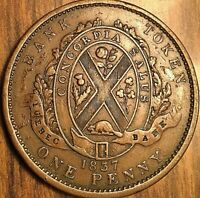 1837 LOWER CANADA ONE PENNY BANK TOKEN DEUX SOU - Quebec bank ribbon -