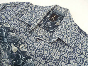 """1 LIKE NO OTHER Mens Shirt   Size 2 (42"""" CHEST)   RRP £135+📮 FLORAL JACQUARD"""