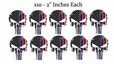 Punisher Skull Blue Red Tattered Subdued Flag Decal Stickers Pack Lot of 10 #prb