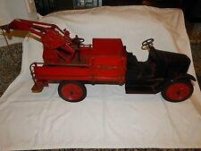 EARLY 1900'S BUDDY L WRECKING TOW  TRUCK- FIRESTONE TIRES..100% ORIGINAL PAINT..