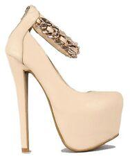 Nala Black Nude White Chain Platform Pump Stiletto Heels Women's shoes