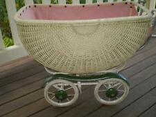 Collectable Vintage Wicker Dolls Pram,4 wheels, springs, photo prop,doll display