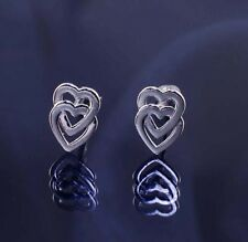 Sterling Silver (925) Double Heart Andralok Studs Earrings.