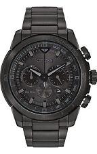 New Citizen Eco-Drive Ecosphere Black Ion Steel Bracelet Mens Watch CA4184-81E