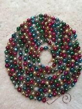 "9' Antique Vtg Multi Color Mercury Glass Bead Xmas Feather Tree Garland 3/8"""