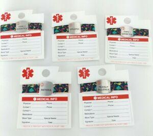 Boy's Medical ID Bracelet Medical Card Dinosaurs Asthma Diabetes Epilepsy Peanut