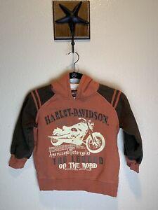 Harley Davidson kids sweatshirt sz 7 hoodie orange brown motorcycle hood pockets