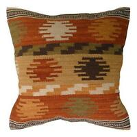 Fair Trade Maniyar Kilim Cushion Cover Indian Handwoven Wool/Cotton Sofa
