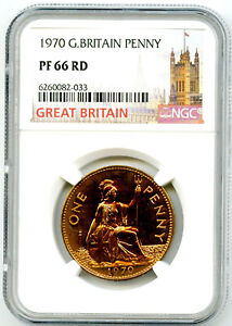 1970 GREAT BRITAIN BRITANNIA PENNY NGC PF66 RD PROOF LAST YEAR OF ISSUE COIN