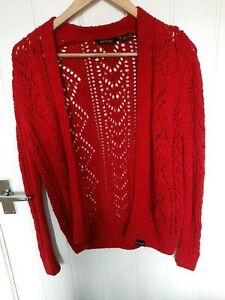 Superdry Women's New Amira Pointelle Cardigan, Burnt Red, Buttonless, Size 8