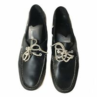 BROOKS BROTHERS Mens Size 12 D Navy Leather Boat Deck Shoes Docksiders